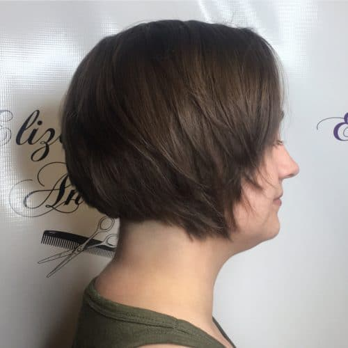 Airy short bob with slanted layers