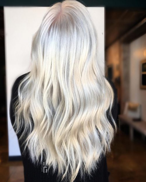 Picture of an all over long blonde hair