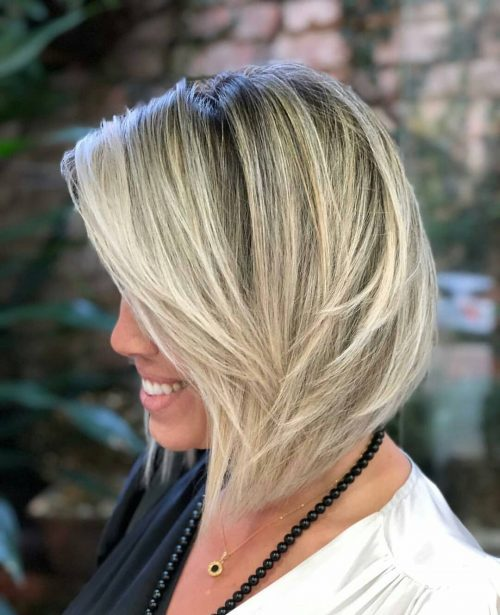 Medium angled bob haircut for thick hair