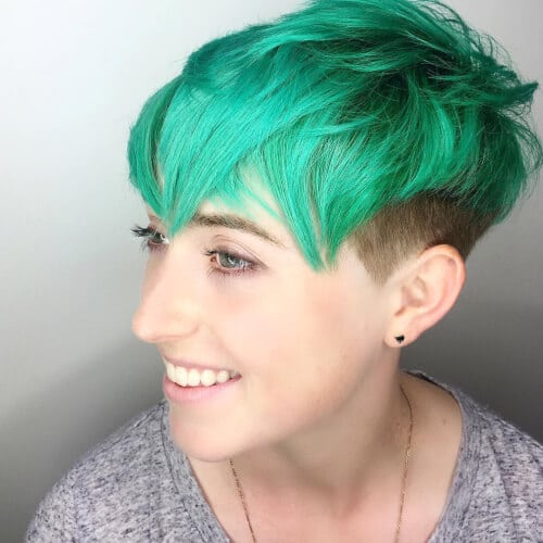 aqua pixie cut with short sides