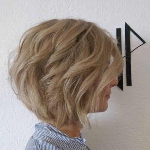 Ash Blonde Wavy Bob hairstyle