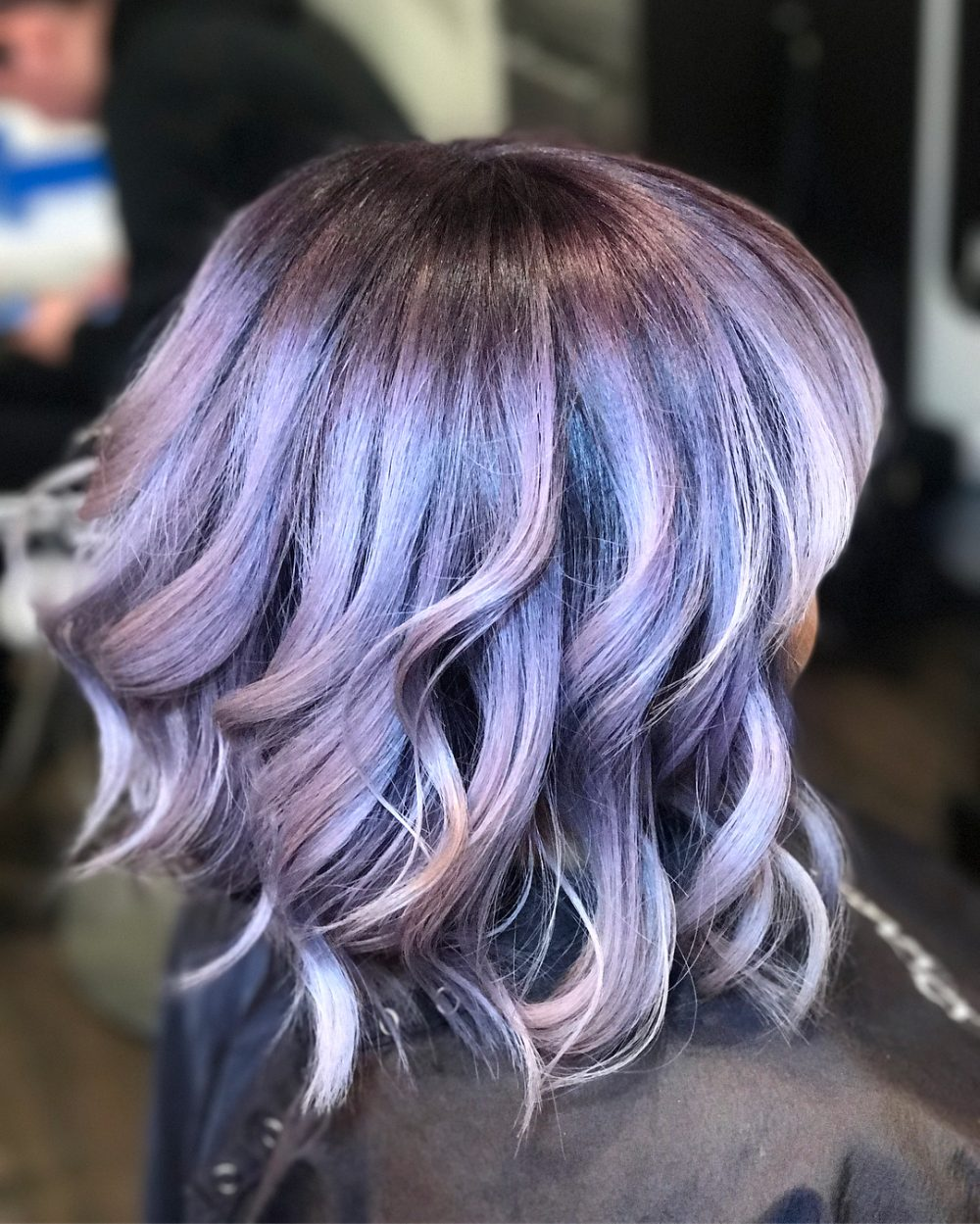 Ashy Plum into Lavender hairstyle
