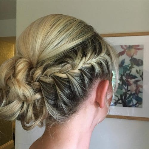 Asymmetric Braided Updo hairstyle