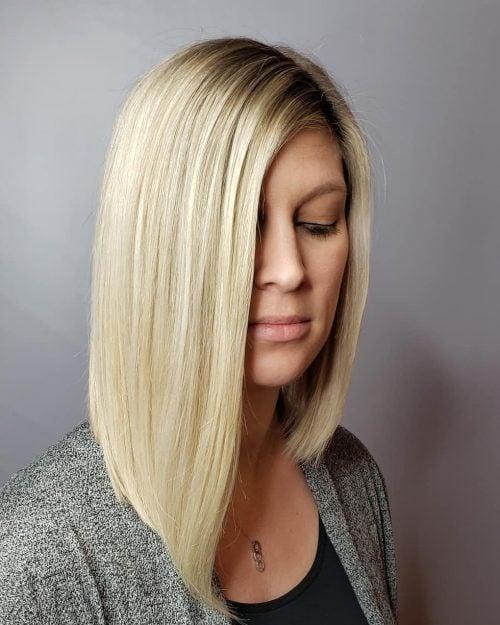 asymmetrical bob for medium length hair