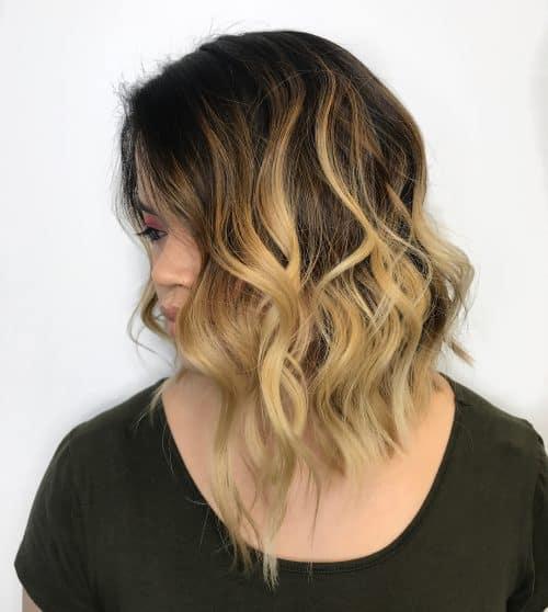 Asymmetrical Lob haircut on thick hair