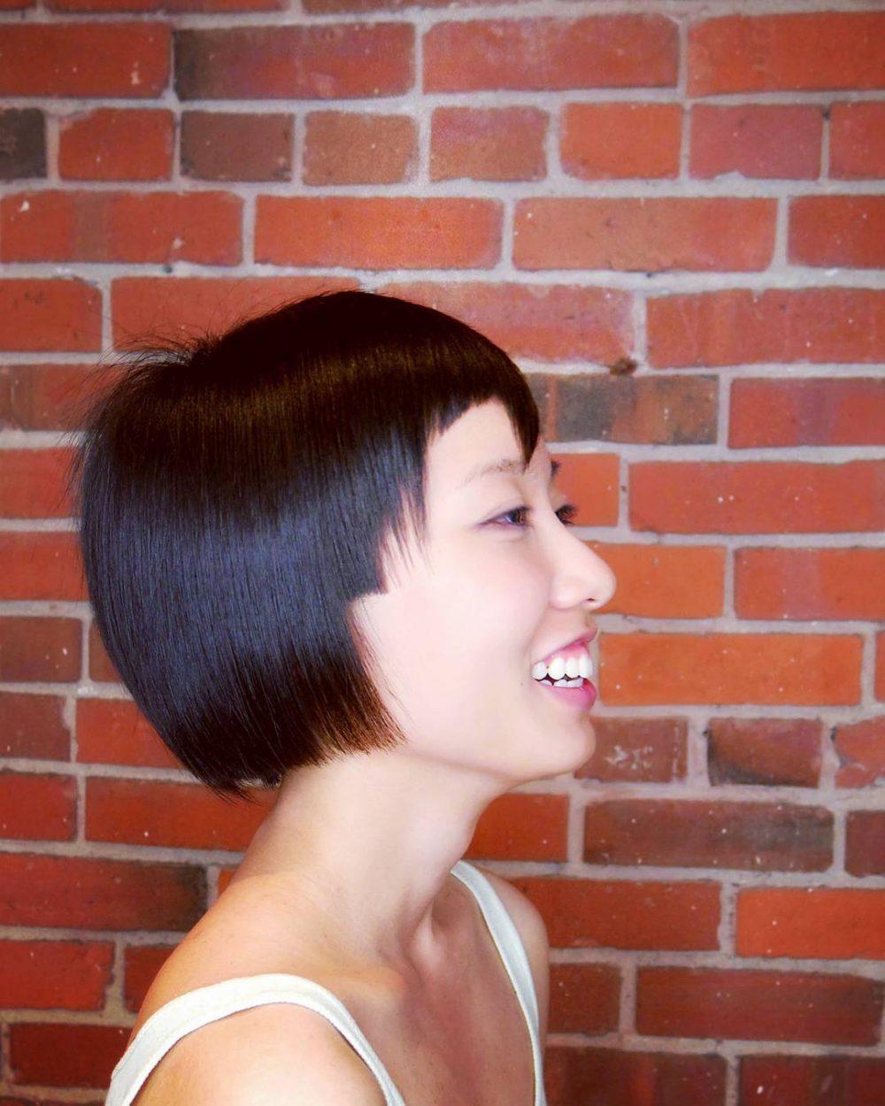 Asymmetrical Bowl Bob hairstyle
