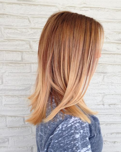 Auburn hair color with blonde ends