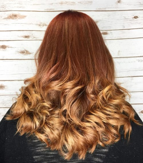 Auburn ombre with highlights