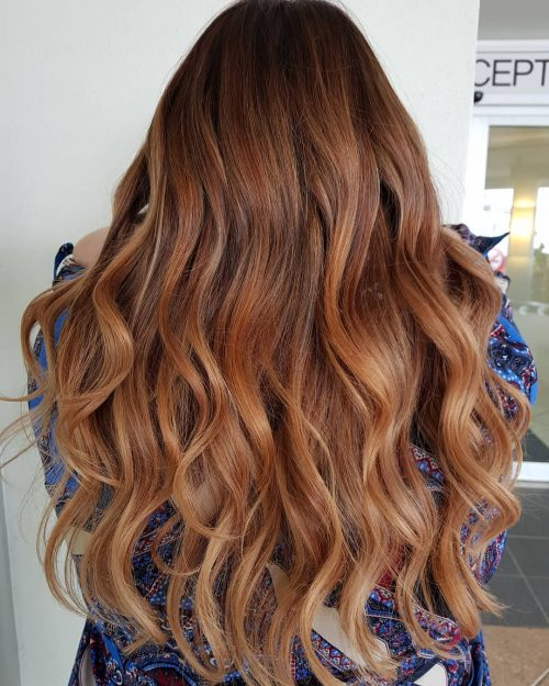 Auburn to brown ombre hair