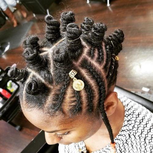 Bantu knots with cornrows