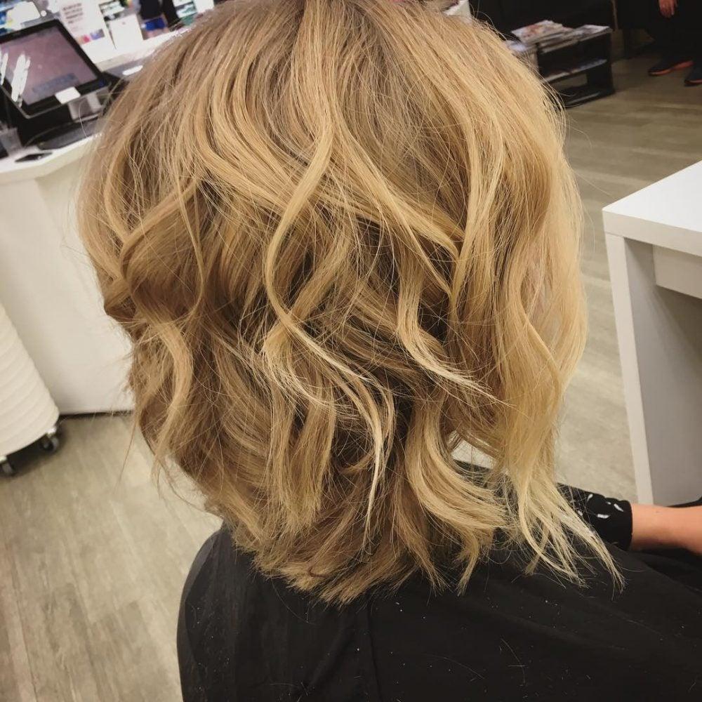 A dashing beachy angled lob haircut