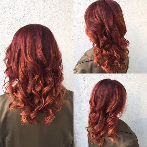 red balayage hair color