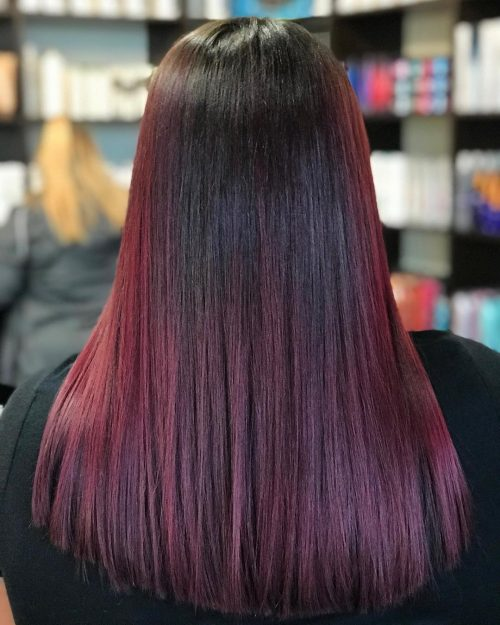 Red And Black Hair Ombre Balayage Highlights
