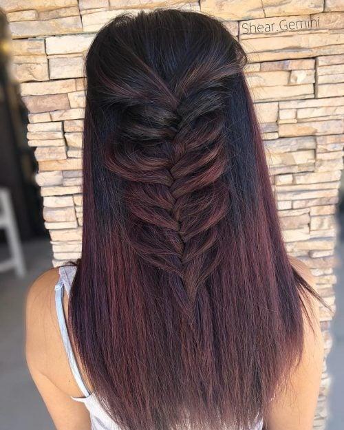 Black red purple hair color