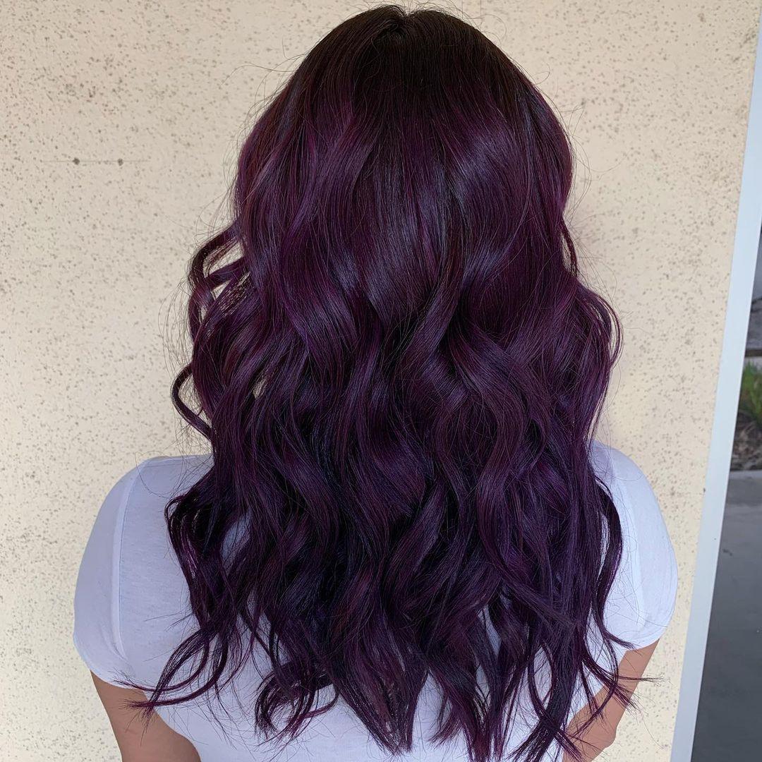 Black cherry eggplant hair color