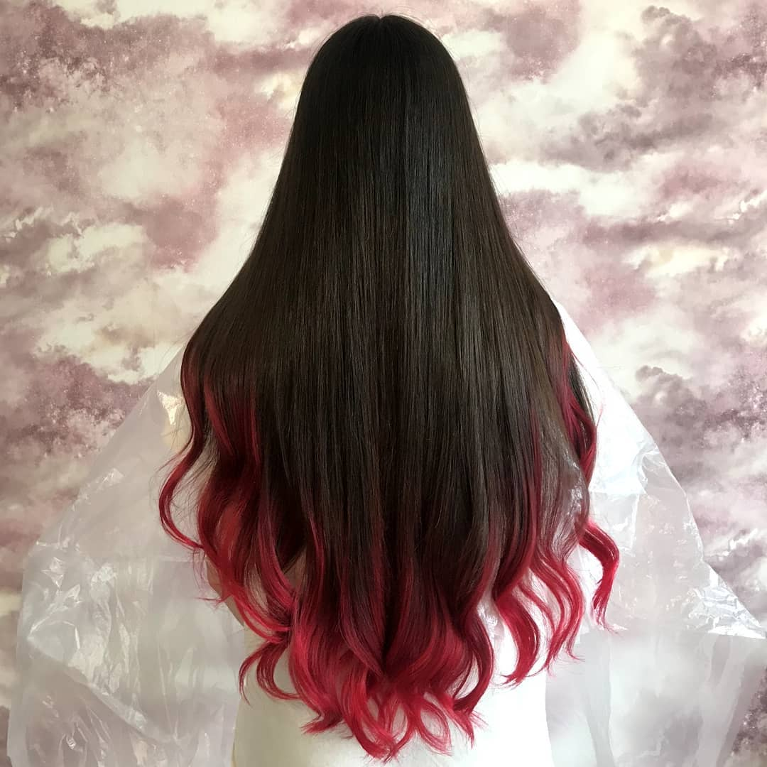 black hair with red dip-dye
