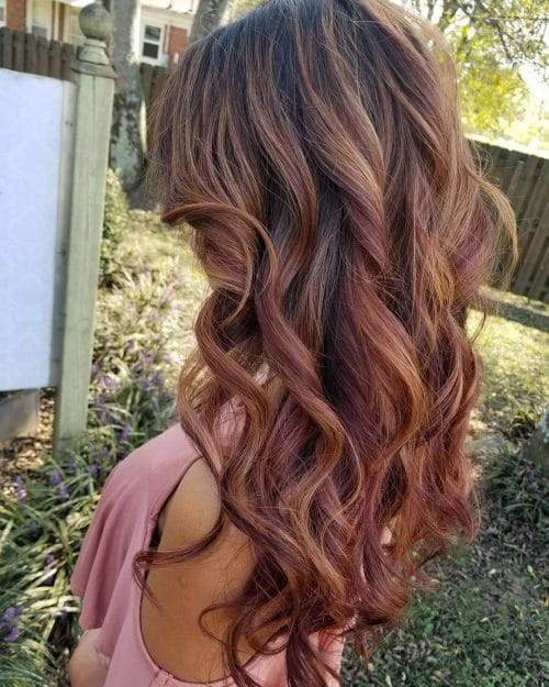 Blended Red Caramel Balayage hairstyle