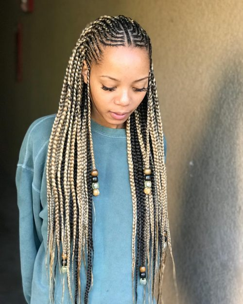 Blonde Ghana braids with beads and cornrows
