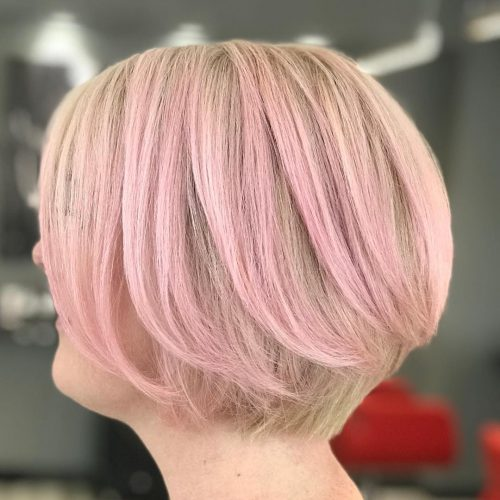 Blonde bob with rose gold highlights