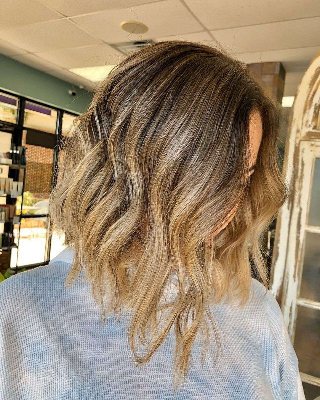 Blonde Medium Bob Hairstyle + Brown Balayage
