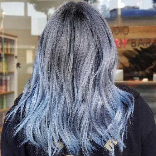 Blue grey ombre hair color