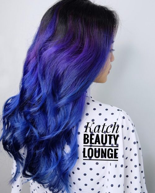 A blue purple ombre hair color