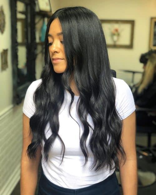 cabello largo y romo con capas bajas