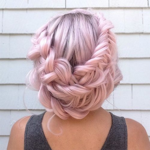 Picture of a boho crown braided look fancy hairstyles