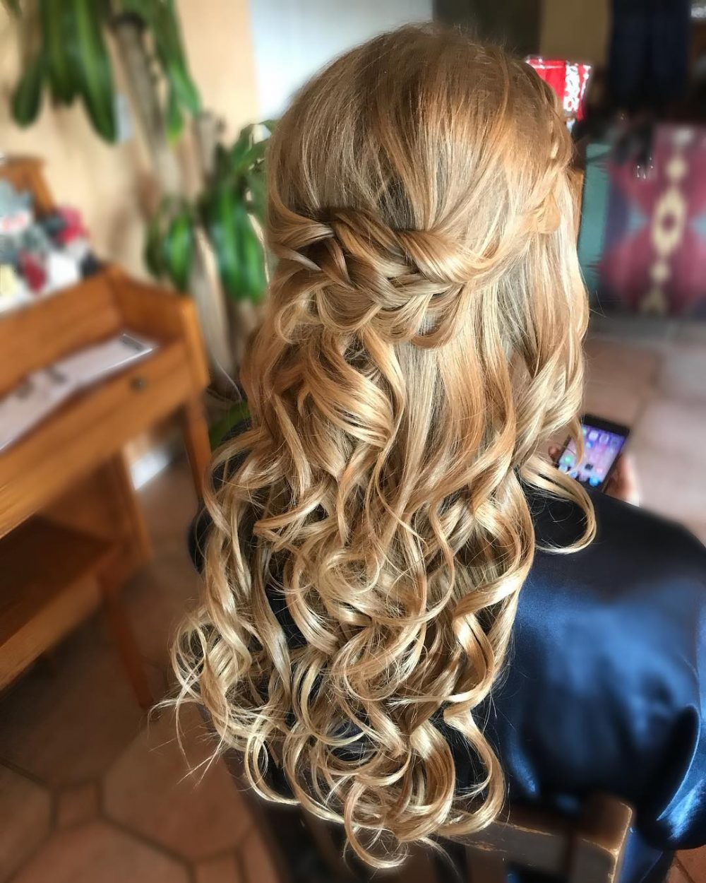 up styles for long thick hair 27 gorgeous wedding hairstyles for hair in 2019 6938 | boho half up half down wedding long