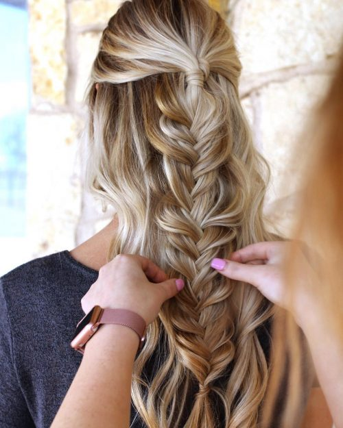 Picture of a boho pull-part braids date night hairstyle