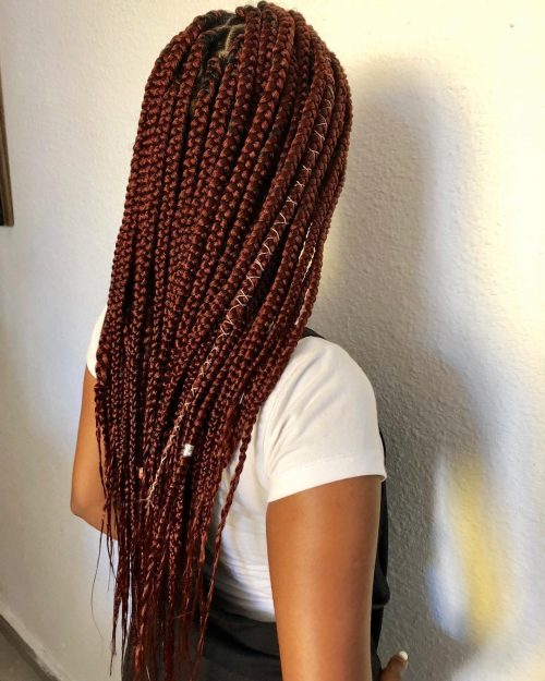 Burgundy Box Braids with String