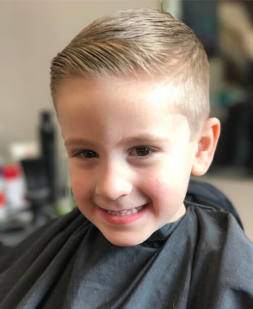 A boys combover haircut