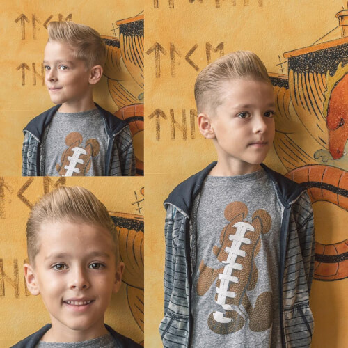 A cool pompadour haircut for little boys