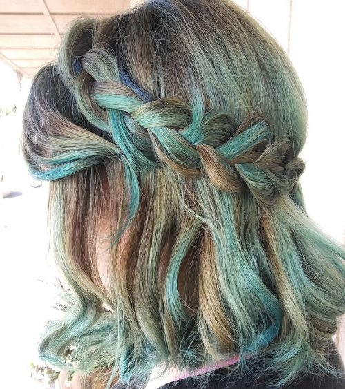 Picture of a braided aqua shoulder length hair