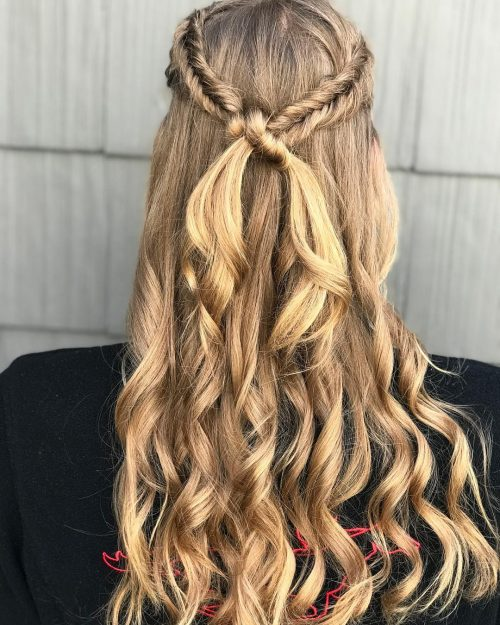 Picture of a braided halo a long simple hairstyle