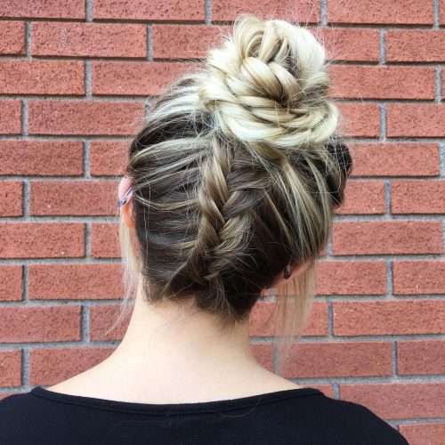 Picture of a braided messy bun