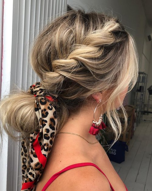 Picture of a braided pony date night hairstyle