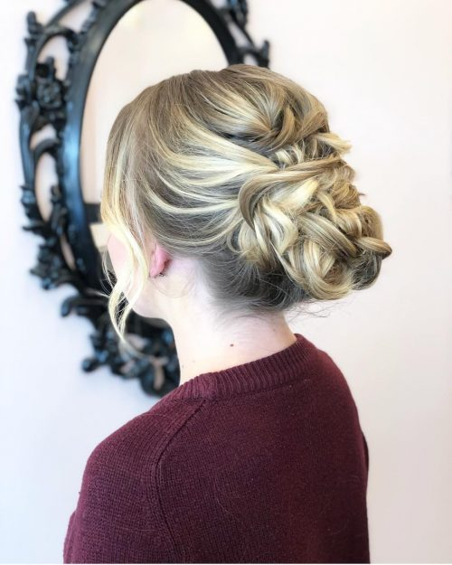 Picture of braided up messy updo