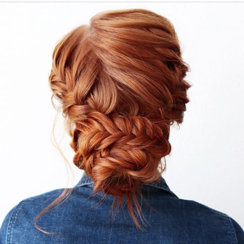 A braided updo for prom