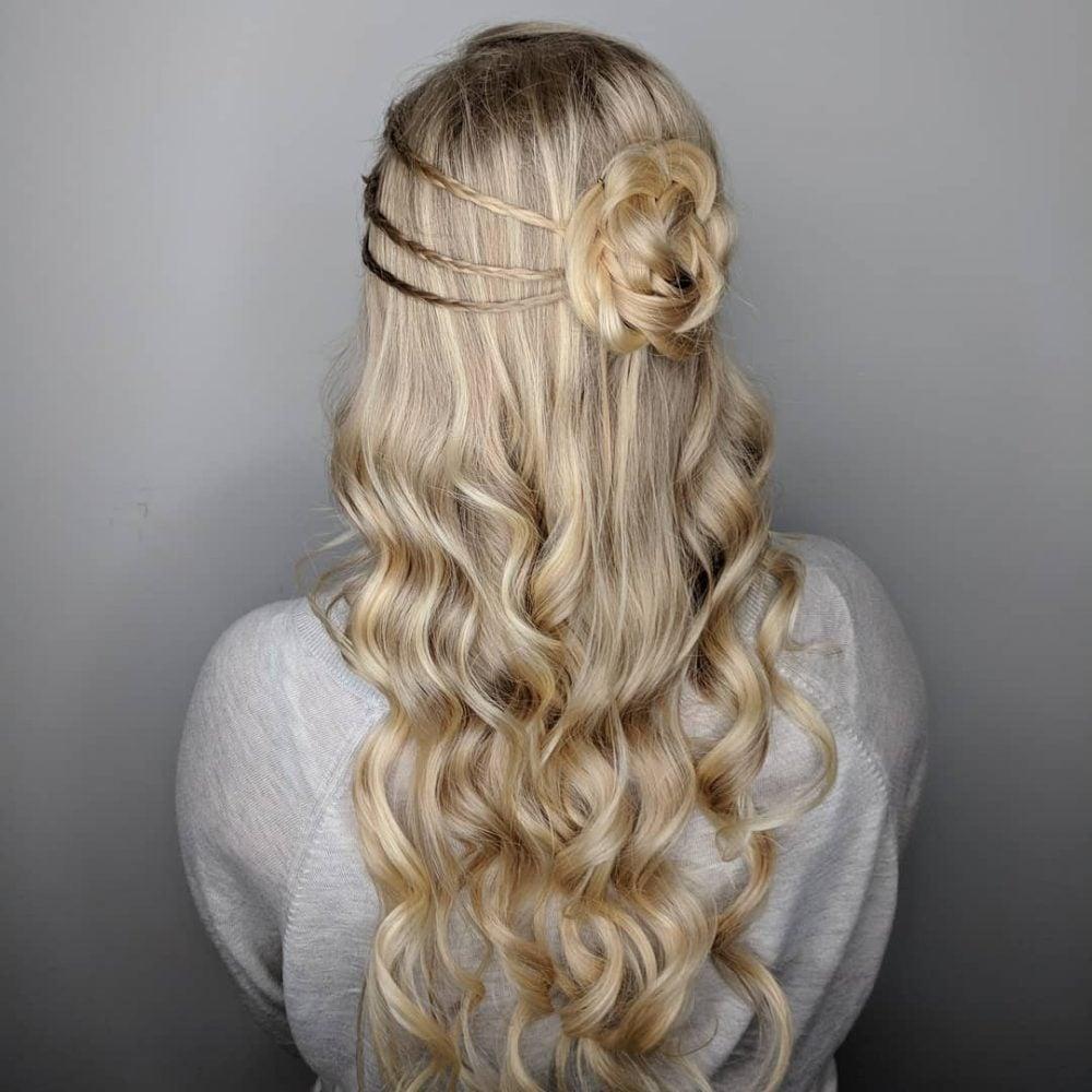 Braids + Flower Bun hairstyle