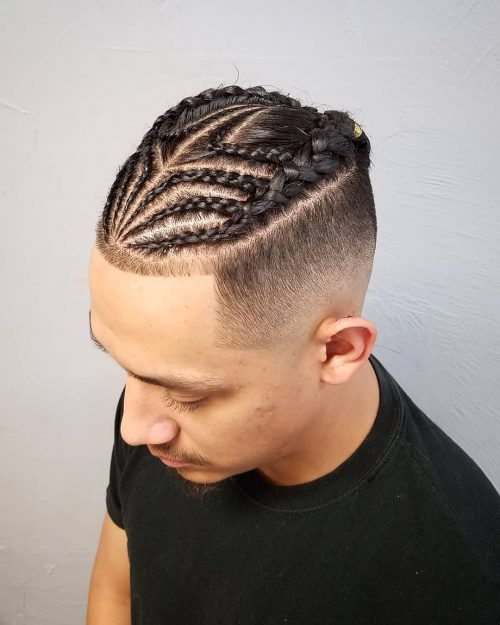 Braids with fade for men