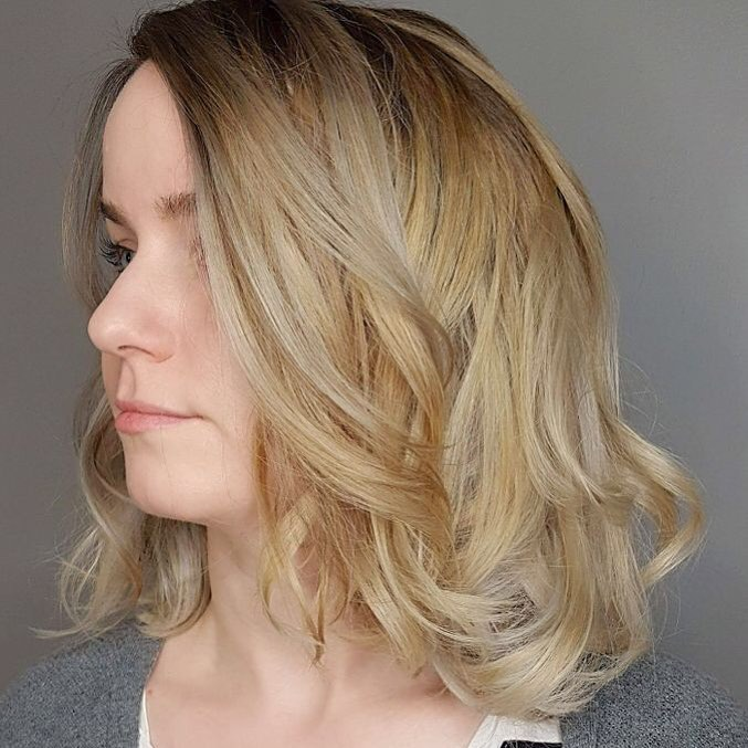 Golden Blonde Medium Length Bob