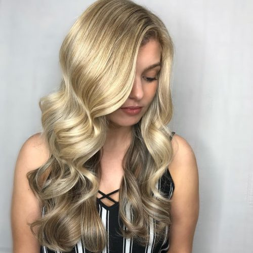 Picture of a bright and warm honey blonde hair
