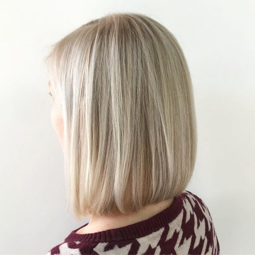 Picture of a straight bright blonde shoulder length hair