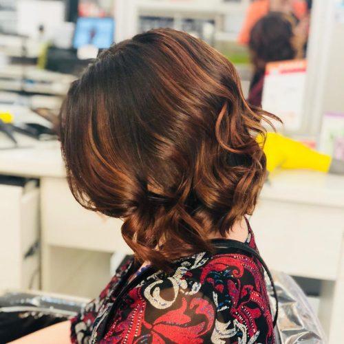 Bronze highlights on bob haircut