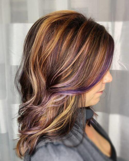 Purple hair highlights on light brown hair