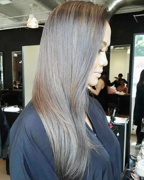 brown and silver hair color