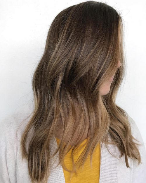 Picture of a long brown blonde balayage