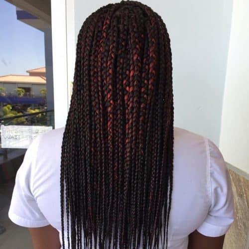 Brown burgundy box braids