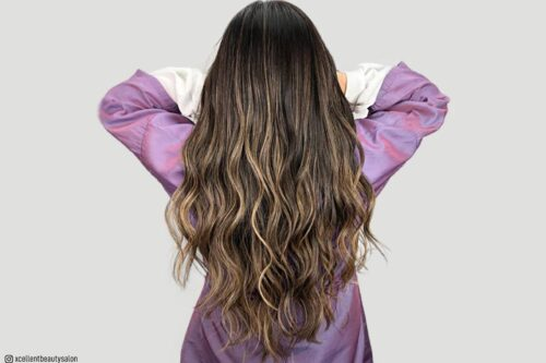 Caramel highlights on brown hair
